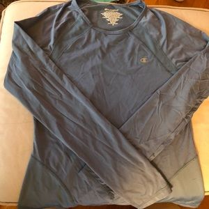 Light blue long sleeve athletic shirt